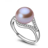 real freshwater pearl ring for women adjustable ring with AAA zircon 9-10mm AAAA natural pearl
