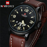 Luxury NAVIFORCE Brand Genuine Leather Analog Display Date Men's Quartz Watch Sports Watches Men Wristwatch