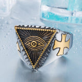 steel soldier 2015 New Eye of Providence All-seeing Eye Ring Stainless Steel Cool Movie Ring For Man
