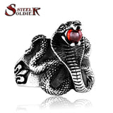 Cobra stainless steel Man ring Punk Heavy Metal ring Snake Jewelry