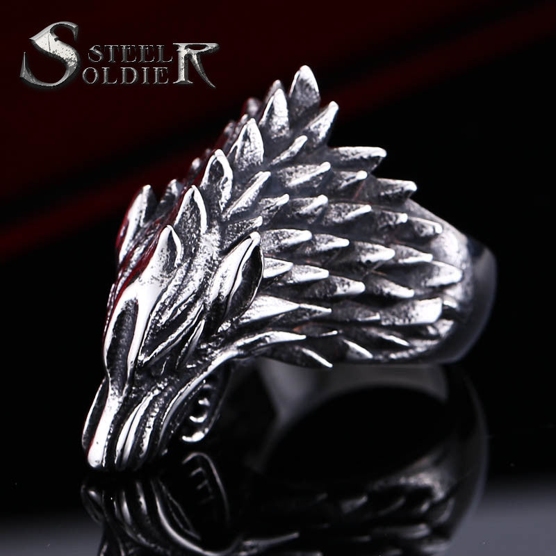 steel soldier high quality stainless steel knitting men ring good detail fashion titanium steel jewelry