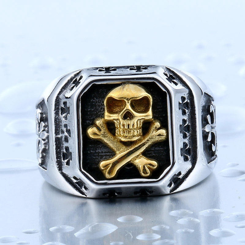 Steel soldier gold skull ring for men stainless steel cross ring titanium steel jewelry for men