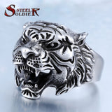 steel soldier punk personality tiger ring for men stainless steel good detail animal jewelry for men