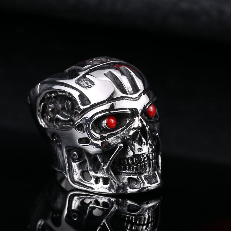 Steel soldier movie ring terminator men punk ring arnold schwarzenegger actor stainless steel jewelry