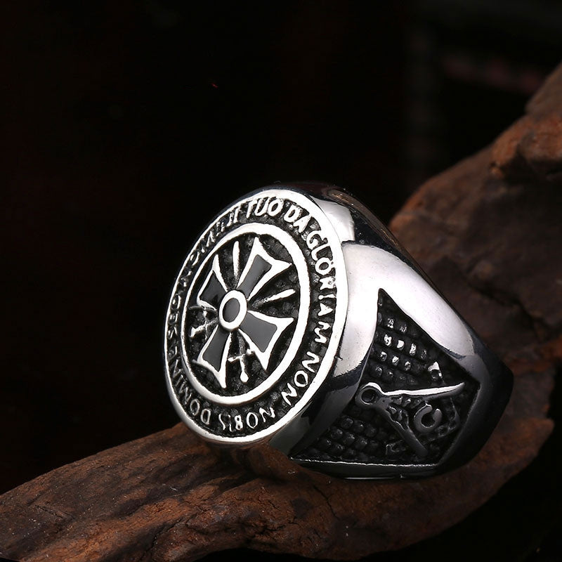 Steel soldier new arrvial men knights templars ring stainless steel high quality fashion jewelry popular ring