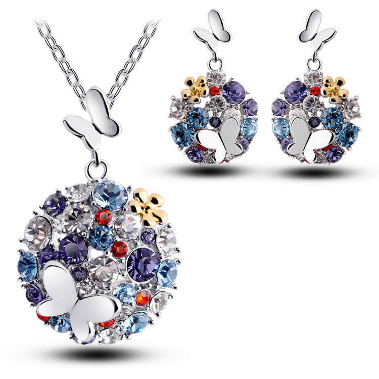 Fashion Brand 18K Jewellery Rhinestone Crystal Jewelry Sets Butterfly Costume Jewelry Necklace Earrings Set for women