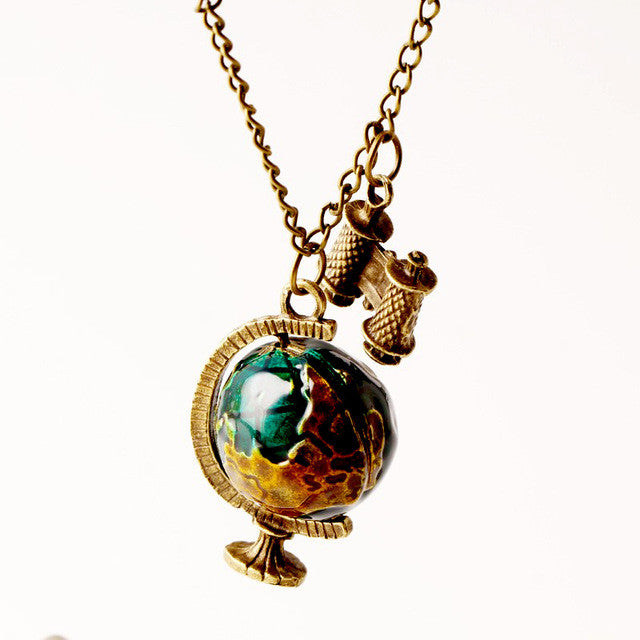 Vintage New Fashion suspension Globe Telescope Ball necklaces & pendants Women Sweater Chain Gifts pendant