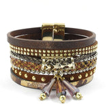 winter leather bracelet charm bracelets & bangles magnet buckle bracelet Bohemian bracelets for women manchette