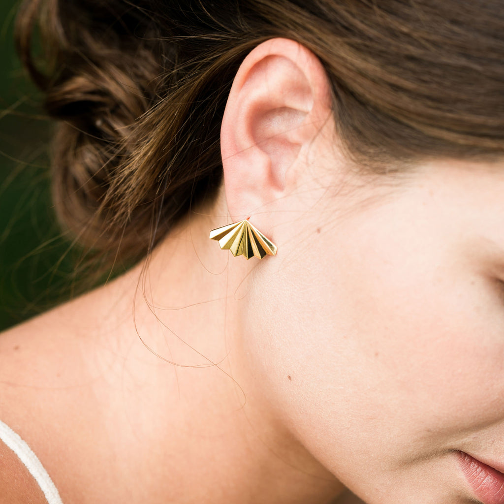 Ruffled Fan Palm Earrings