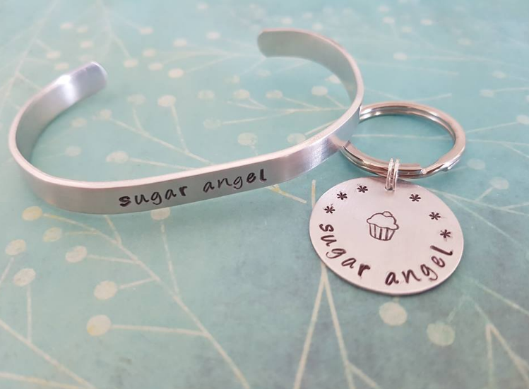 Sugar Angel Key Chain or Cuff Bracelet