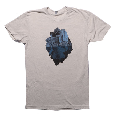 Men Amongst Mountains Tour T-Shirt, Cream and Blue