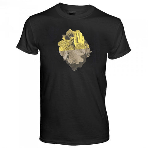 Men Amongst Mountains Tour T-Shirt, Black with Yellow and Grey Iceberg Screenprint
