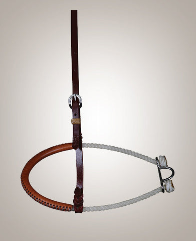 NOSEBAND – SINGLE LEATHER COVERED ROPE