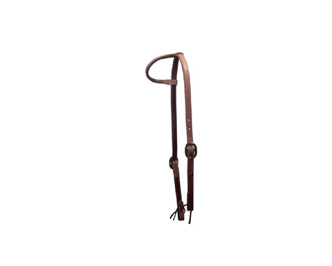 "5/8"" double Stitched Russet Slip Ear Headstall - Dusty Cowboy"