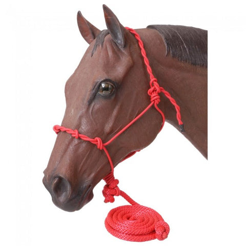 Tough-1 Poly Rope Halter W/Knots & 14ft Lead - Dusty Cowboy