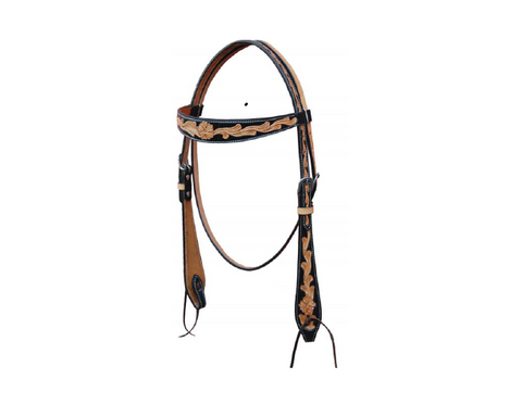 Browband Headstall w/ Floral and Black Coloring - Dusty Cowboy