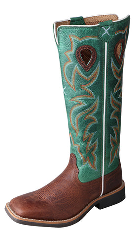 Twisted X Youth Cowboy Boots Oiled Cognac with Tall Turquoise Tops - Dusty Cowboy