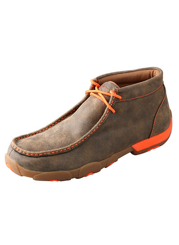 Men's Driving Moccasins – Bomber/Neon Orange-MDM0019 - Dusty Cowboy