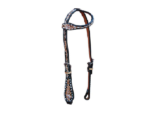 Slip Ear w/ Floral, Black Inlay, & White Buckstitch - Dusty Cowboy
