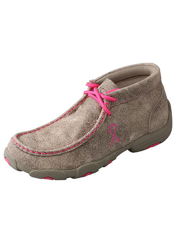 Twisted X Kid's Driving Moccasin Shoes - Dusty Tan/Neon Pink - Dusty Cowboy