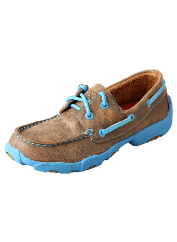 Twisted X Youth Driving Mocs Brown Bomber with Neon Blue YDM0016 - Dusty Cowboy