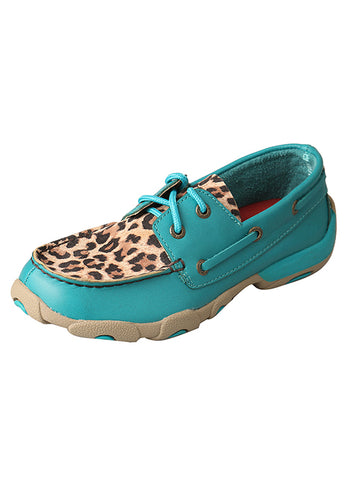Kid's Driving Moccasins – Turquoise/Leopard YDM0029 - Dusty Cowboy
