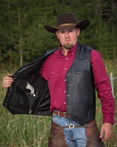Drover Concealed Carry Leather Vest - Dusty Cowboy