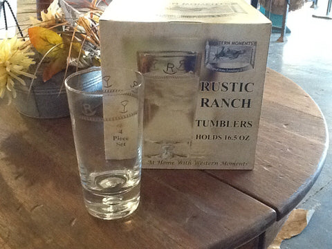 4 pc Rustic Tumblers - Dusty Cowboy