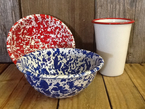 Baked Enamel Cereal or Salad Bowl - Dusty Cowboy