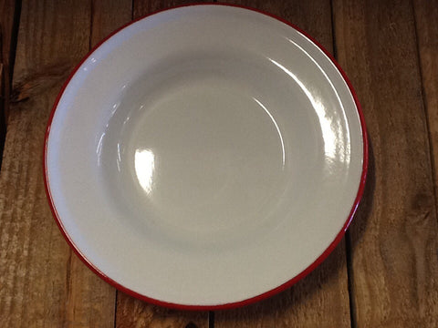 Baked Enamel Vintage White with Red Rim Salad or Dessert Plate - Dusty Cowboy