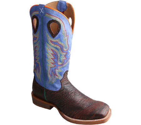 Twisted X Mens Ruff Stock MRSL028 Antique Chocolate/Royal Blue - Dusty Cowboy