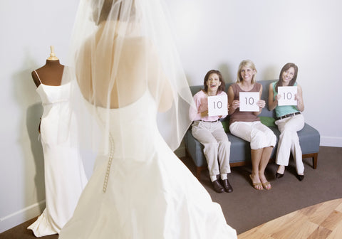 choosing a wedding dress with your bridesmaids