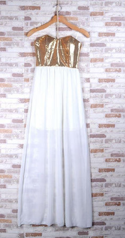 Gold Sequin & White Chiffon Maxi Dress