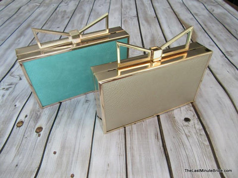 Metallic Bow Box Clutch