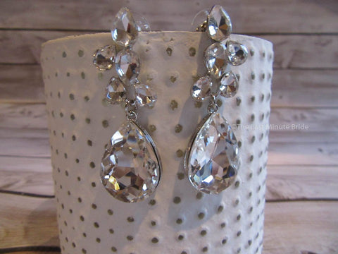Clear Glass and Rhinestone Dangle Earrings