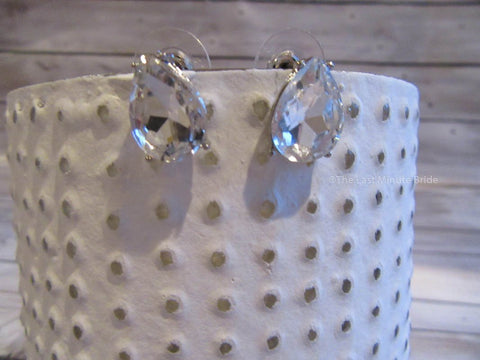 Clear Glass Crystal Tear Drop Stud Bridal Earrings