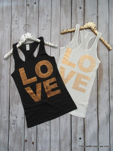 Love Sequin Racerback Tank Top - White & Gold