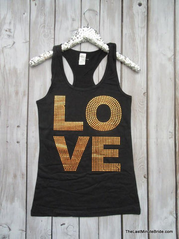Love Sequin Racerback Tank Top - Black & Gold