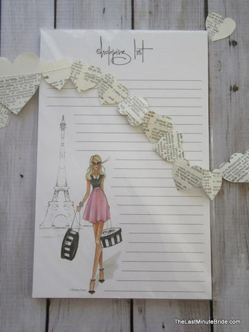 J'adore Paris Shopping List Notepad