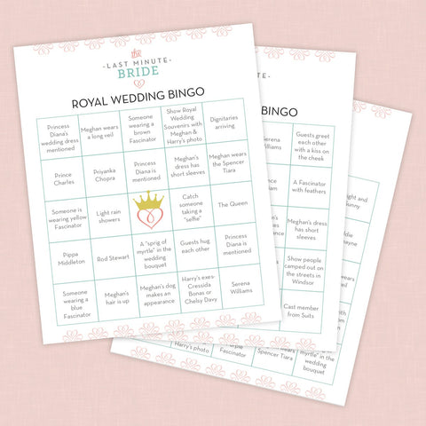 Royal Wedding Watch Party Bingo