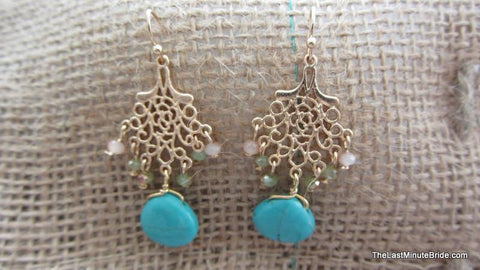 Semi Precious Stone Dangle Earrings