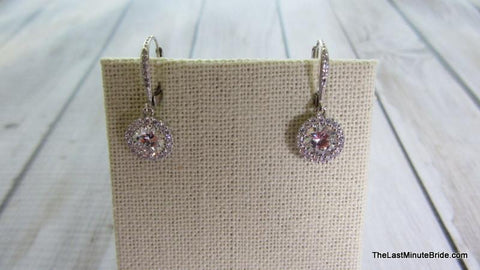 Round Dangle CZ Earrings - 881981