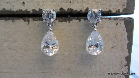 Cubic Zirconia Tear Drop Dangle Posts 560702