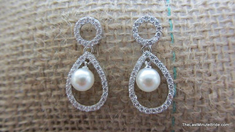 Pearl & CZ Tear Drop Dangle - 719414