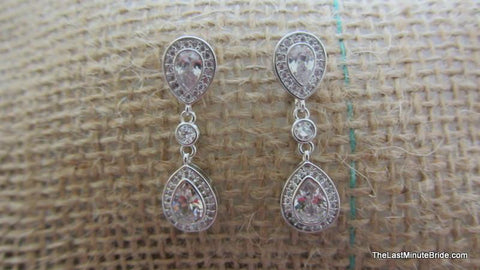 Cubic Zirconia Tear Drop Earrings