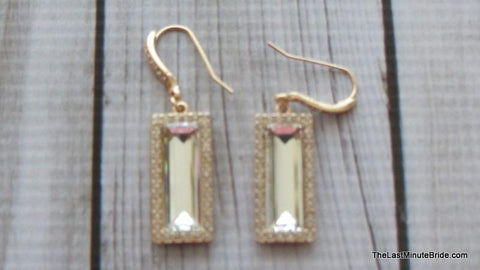 Emerald Cut Gold and Rhinestone Dange Earrings - 456934