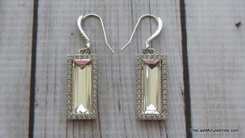 Emerald Cut Silver & Rhinestone Dangle Earrings - 556934