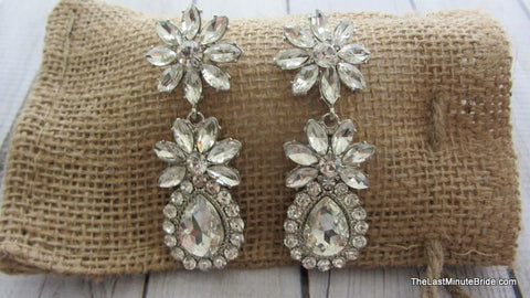 Tear Drop Dangle Earrings with Flower Accent - 932644