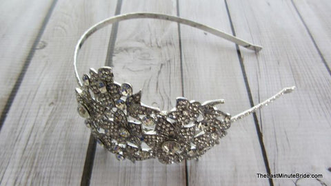 Clear Rhinestone Headband with Floral Motif