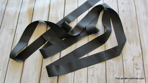 Black Satin Ribbon Sash